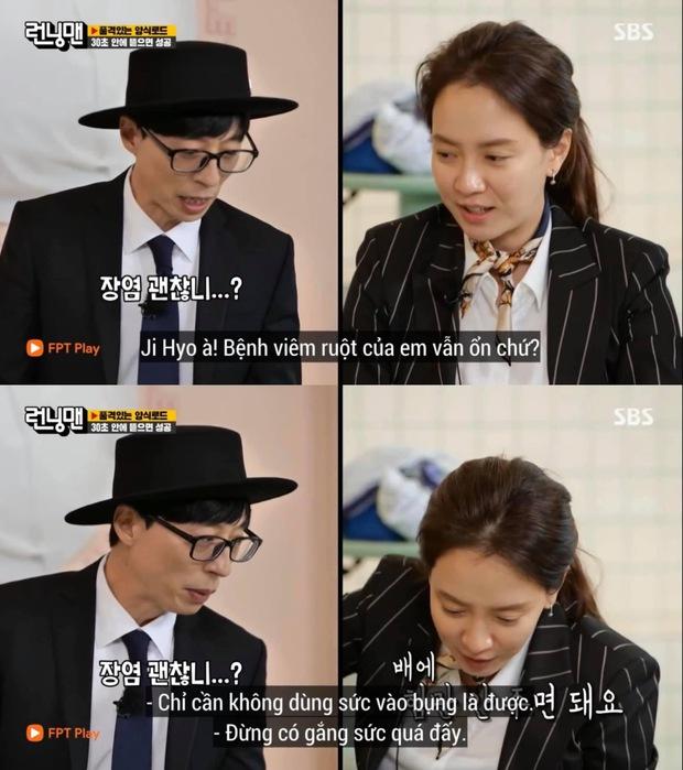 Fan lo sốt vó khi mợ ngố Ji Hyo nhợt nhạt trên Running Man, liên tục ôm bụng vì viêm ruột - Ảnh 7.