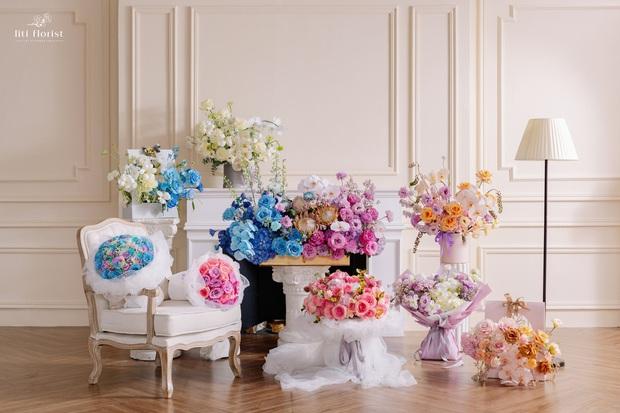 Liti Florist ra mắt BST hoa 20/10 rồi đây: Hot nhất là màu tím mộng mơ, bình hoa chục triệu cũng có người sắm - Ảnh 1.