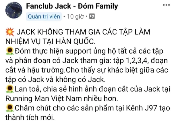 Xôn xao bài đăng lên kế hoạch nếu Jack bay màu tại Running Man Việt, liệu có hiệu quả? - Ảnh 2.