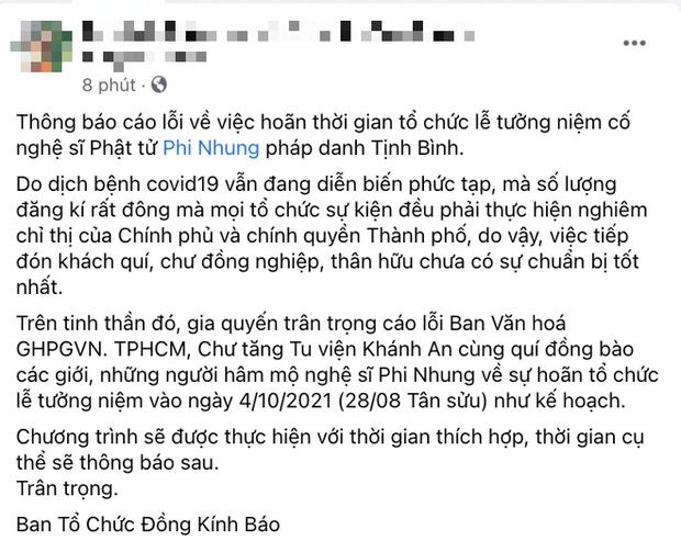 Phía cố ca sĩ Phi Nhung thông báo hoãn lễ tưởng niệm ngày 4/10, lý do là gì? - Ảnh 2.