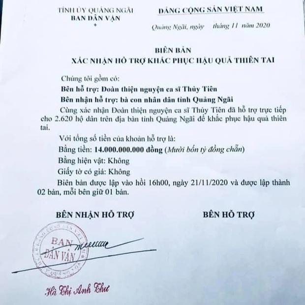 Ekip Thuỷ Tiên thông báo tỉnh Quảng Ngãi xác minh nhận 14 tỷ đồng quyên góp, đã cung cấp đầy đủ chứng từ với cơ quan điều tra - Ảnh 4.
