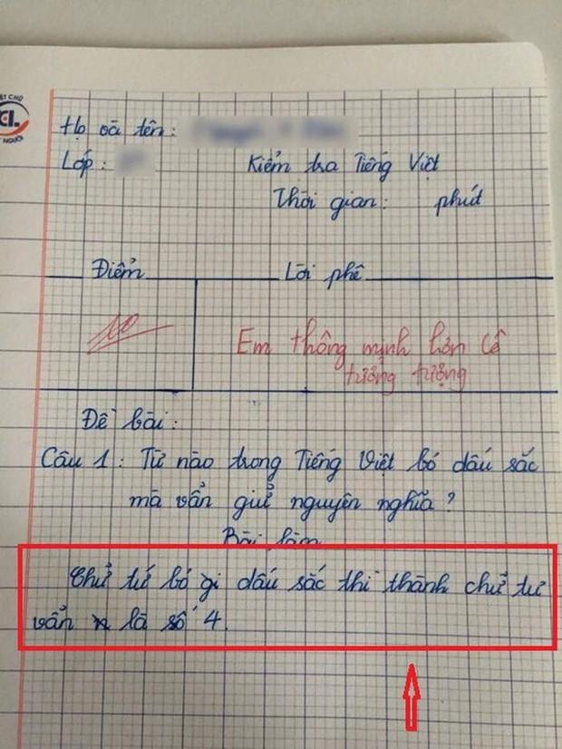 Hỏi Từ nào trong tiếng Việt bỏ dấu sắc mà vẫn giữ nguyên nghĩa, học trò trả lời một chữ mà cô giáo tấm tắc khen, cho ngay 10 điểm - Ảnh 1.