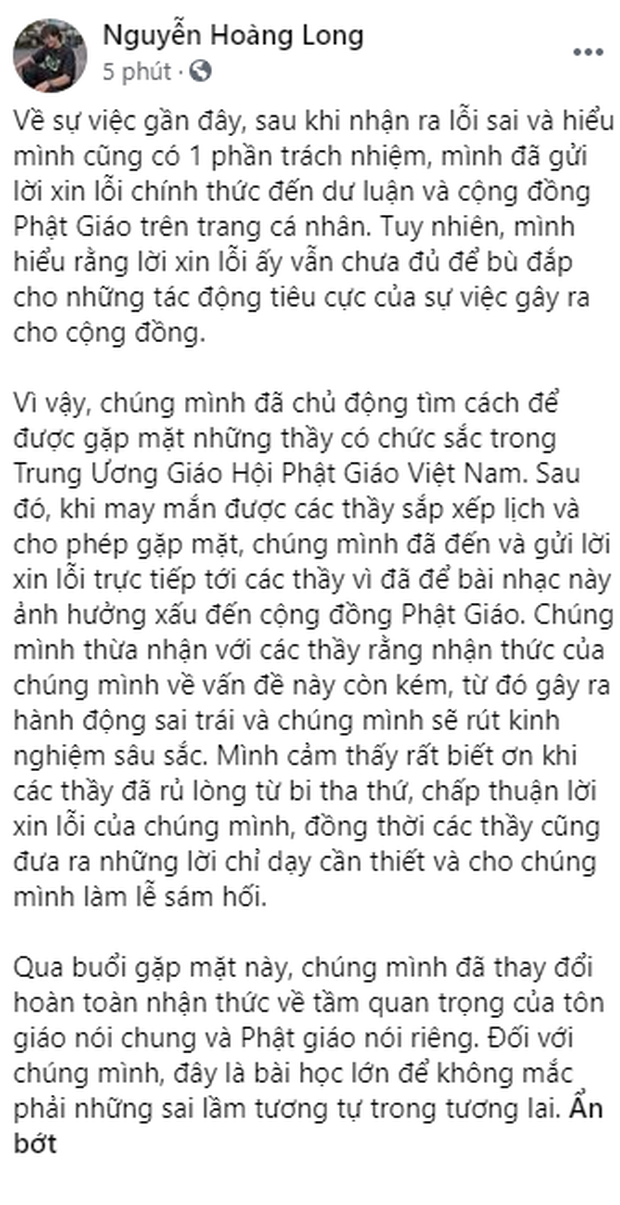 Nhóm rapper xúc phạm Phật giáo đã đến chùa sám hối và xin tham gia khóa tu mùa hè, Giáo hội Phật giáo Việt Nam cũng lên tiếng - Ảnh 10.