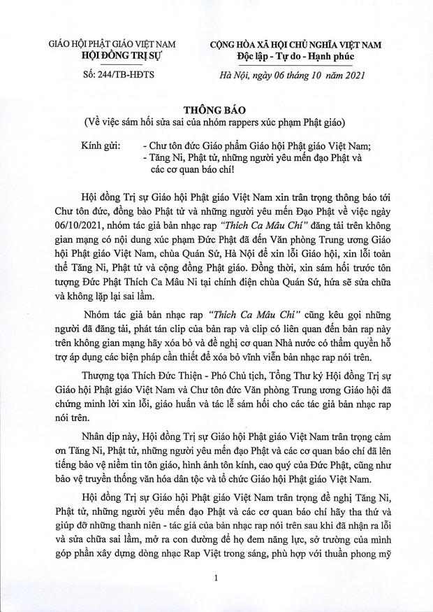 Nhóm rapper xúc phạm Phật giáo đã đến chùa sám hối và xin tham gia khóa tu mùa hè, Giáo hội Phật giáo Việt Nam cũng lên tiếng - Ảnh 5.