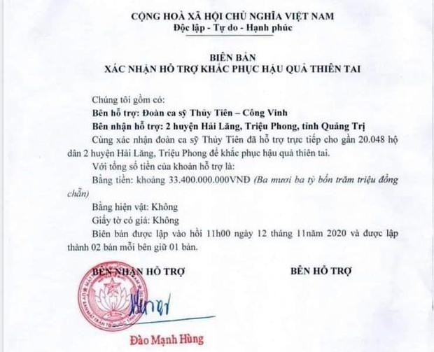 Quảng Trị khó xác định chính xác tổng số tiền từ thiện ca sĩ Thủy Tiên trao tặng - Ảnh 1.