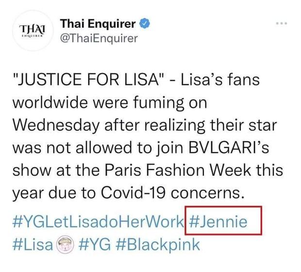 Phẫn nộ truyền thông Thái Lan lôi Jennie vào cuộc tranh cãi của Lisa, còn từng tung tin đồn thất thiệt gây phẫn nộ - Ảnh 1.