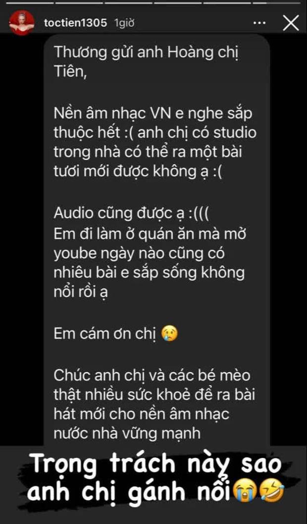Fan nhắn tin Tóc Tiên và Touliver than sống không nổi, tha thiết xin nhạc mới để nghe, nữ ca sĩ phản ứng ra sao? - Ảnh 2.