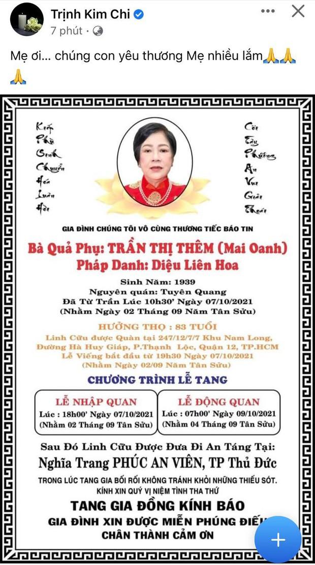 Tin buồn: Mẹ ruột Trịnh Kim Chi qua đời, NS Hồng Vân - Vy Oanh và dàn sao đồng loạt chia buồn - Ảnh 2.