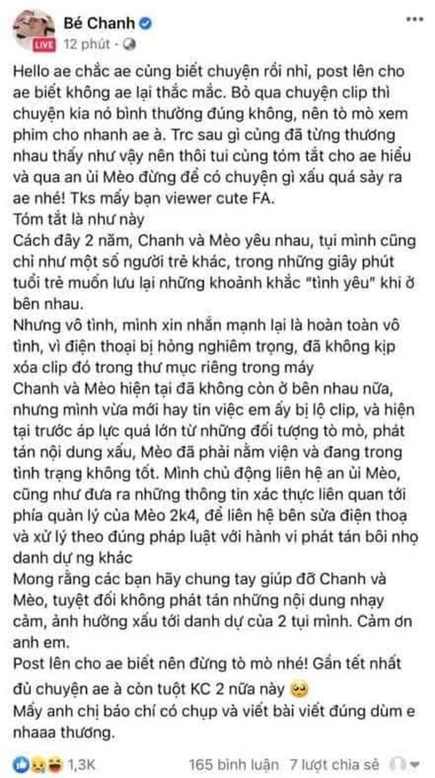 Bé Chanh lên tiếng thừa nhận là người còn lại trong clip Mèo 2k4, kêu gọi không phán tán nội dung nhạy cảm - Ảnh 3.