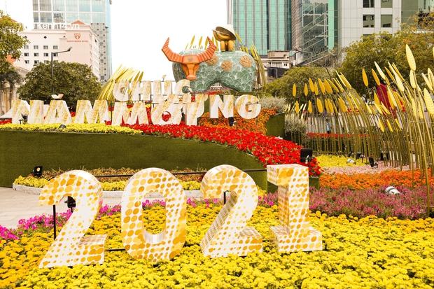 Ảnh: Đường hoa Nguyễn Huệ Sài Gòn năm nay đẹp nhức nách không sến chỉ thấy sang, lên hình góc nào cũng ảo - Ảnh 5.