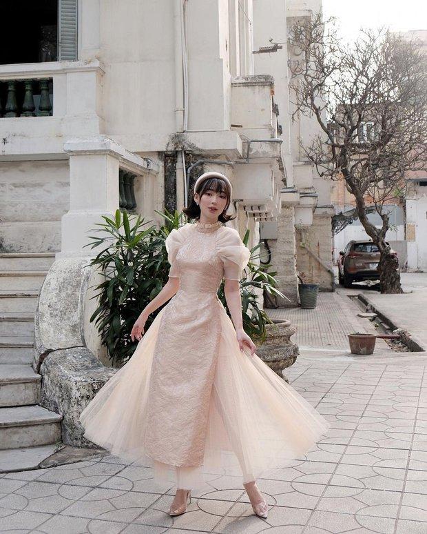Sao Việt đọ dáng với áo dài: Hà Tăng, Lan Ngọc đội mấn trẻ trung, Quỳnh Anh Shyn diện áo trễ vai gợi cảm - Ảnh 5.