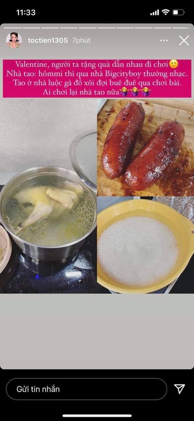 Ai như Tóc Tiên - Hoàng Touliver ngày Valentine: Vợ ở nhà nấu ăn chờ hội bạn, chồng đánh lẻ hẹn hò cùng Binz - Ảnh 2.
