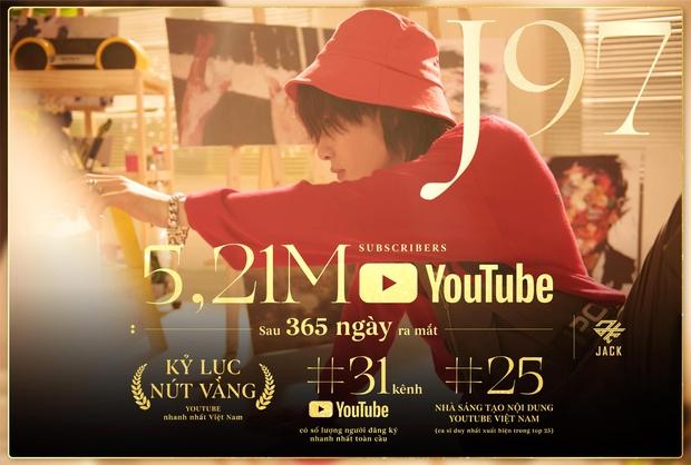Sau 1 năm thành lập, kênh YouTube của Jack đạt hơn 5 triệu subscribe, kỷ lục nút Vàng nhanh nhất Việt Nam và còn nhiều hơn thế - Ảnh 3.