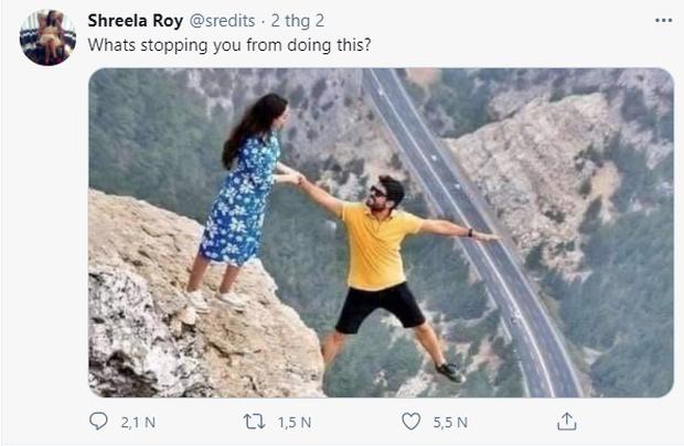 Đăng bức ảnh chụp trên vách đá cheo leo, cặp đôi bị ném đá tơi bời vì quá mạo hiểm, nhưng sự thật phía sau khiến tất cả câm nín - Ảnh 3.