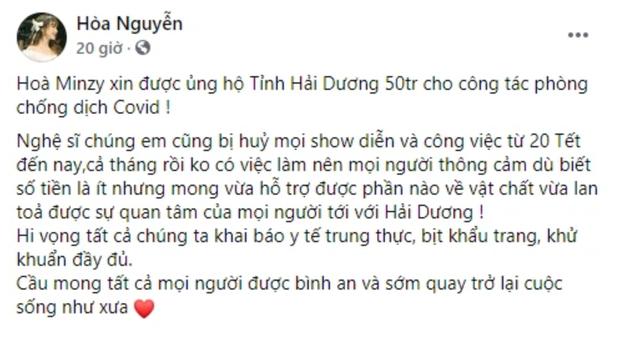 Ủng hộ 50 triệu đồng cho Hải Dương chống dịch, Hoà Minzy xin khán giả thông cảm vì một lý do - Ảnh 2.