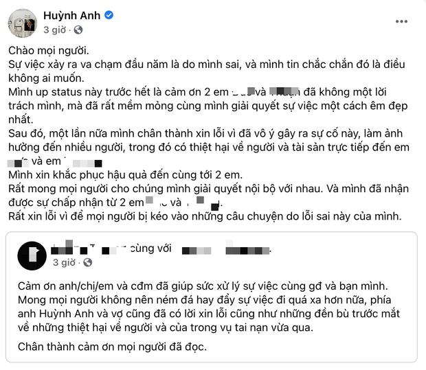 Drama khép lại: Huỳnh Anh công khai xin lỗi và hứa bồi thường đến cùng sau vụ tai nạn mùng 4 - Ảnh 2.