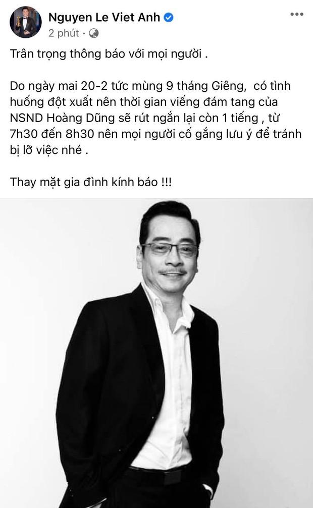 Việt Anh thông báo thay đổi thời gian viếng NSND Hoàng Dũng, NS Hoài Linh gửi lời tiễn biệt gây xúc động - Ảnh 2.