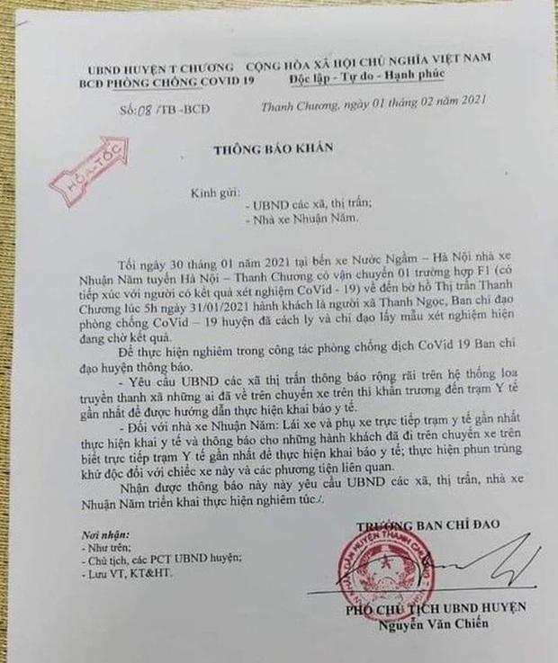 Hỏa tốc tìm hành khách đi cùng F1 từ Hà Nội về Nghệ An trong đêm - Ảnh 1.