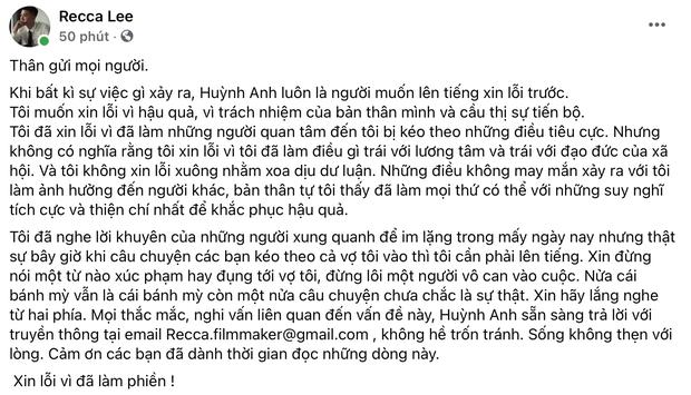 2h sáng Huỳnh Anh xin lỗi sau vụ đấu tố nhẫn cầu hôn, nhưng... không nhận sai và còn dằn mặt: Xin đừng xúc phạm, đụng tới vợ tôi - Ảnh 2.