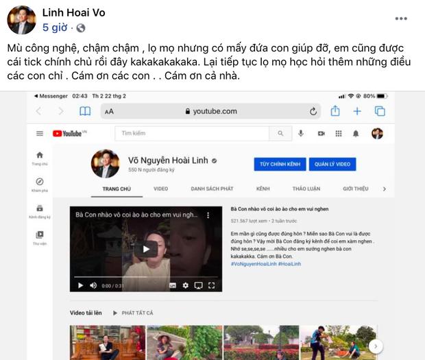 Người chơi hệ MXH đỉnh nhất Vbiz gọi tên NS Hoài Linh: Đạt nửa triệu đăng kí sau 2 tuần, con trai và dàn sao Vbiz chúc mừng - Ảnh 2.