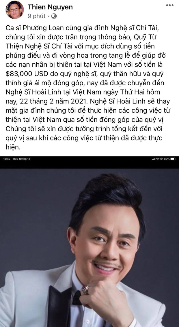 Tiền phúng viếng cố NS Chí Tài lên đến gần 2 tỷ đồng, gia đình đã bàn giao cho NS Hoài Linh để lập quỹ từ thiện tại Việt Nam - Ảnh 2.