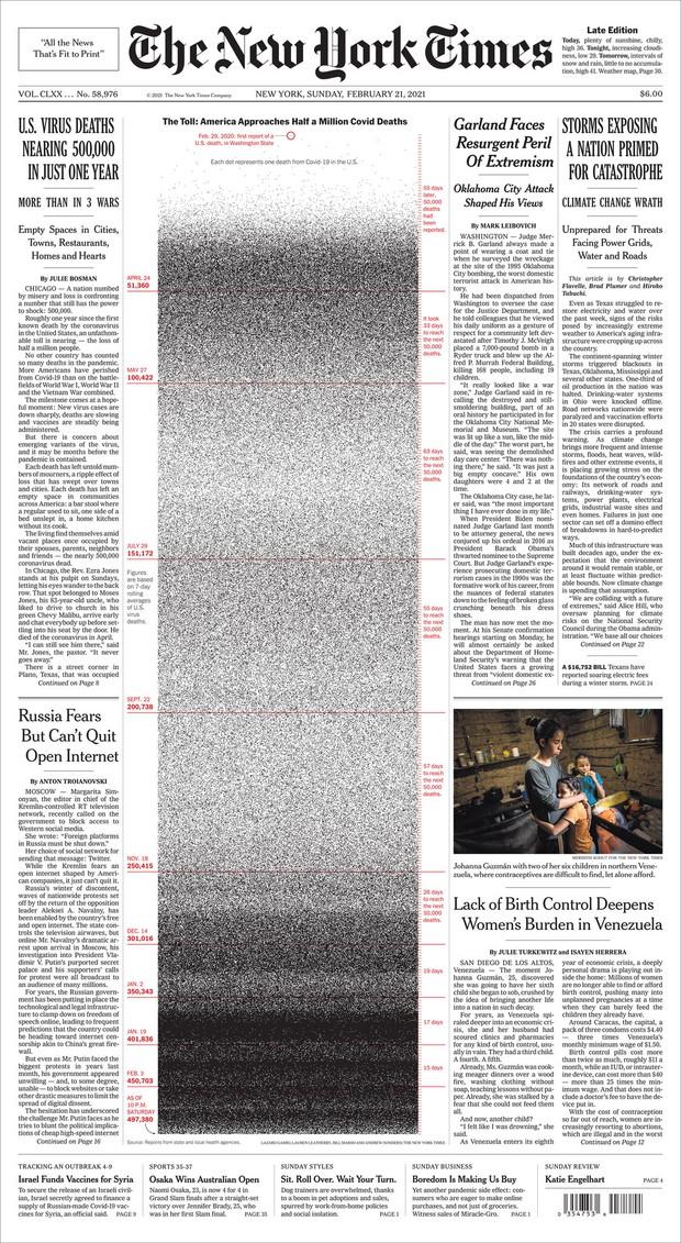 1000, 100.000, rồi nửa triệu: 2 trang nhất gây ám ảnh cả thế giới của New York Times về hiện thực đau đớn Covid-19 mang lại - Ảnh 1.