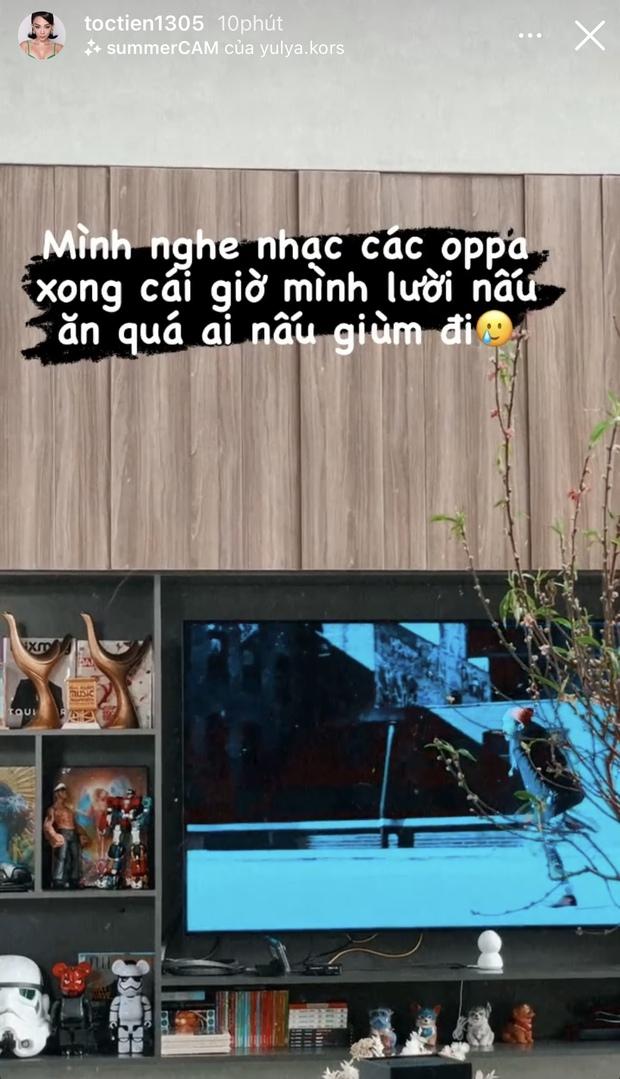 Tóc Tiên nghe tin G-Dragon hẹn hò, chấn động đến nỗi muốn đình công chuyện bếp núc, dán mắt vào tivi và nghe nhạc oppa - Ảnh 3.