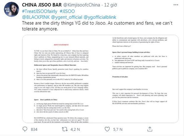 Giữa tin Jennie hẹn hò GD, fan BLACKPINK nổi giận đẩy hashtag đòi công bằng cho Jisoo, viết mail tố tội YG dài đến 3 mặt giấy? - Ảnh 1.
