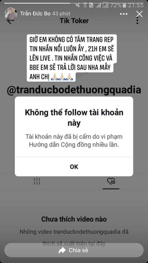 Kênh TikTok 1,4 triệu người theo dõi của Trần Đức Bo bất ngờ bị bay màu, chính chủ mạnh miệng tuyên bố từ nay dứt tình - Ảnh 4.