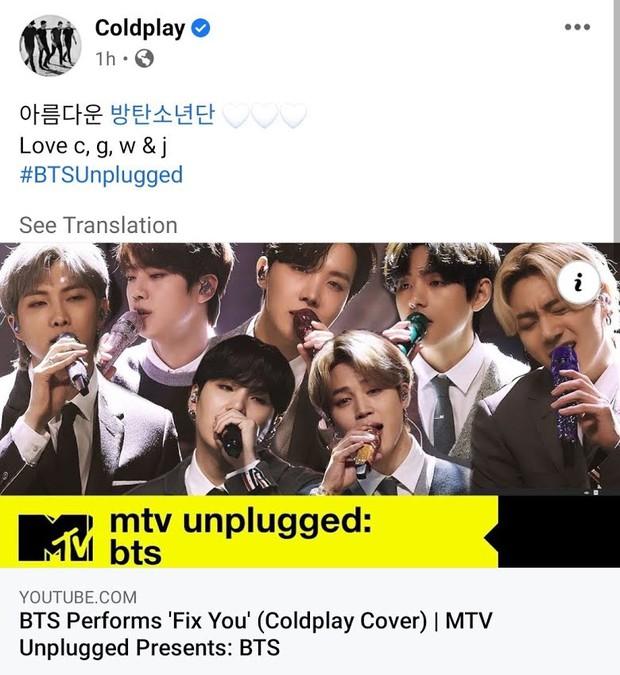 BTS được khen nức nở khi cover bản hit huyền thoại của Coldplay, chính chủ nổi tiếng khó tính cũng phản ứng bất ngờ - Ảnh 7.