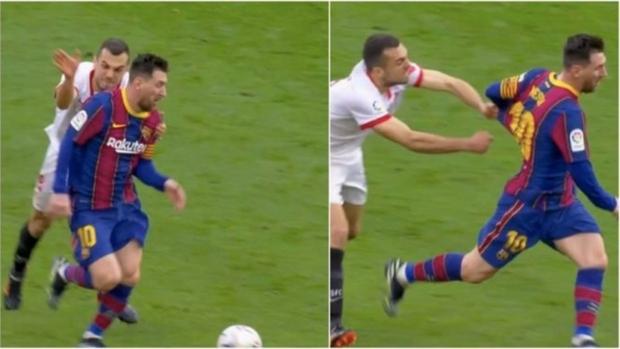 """Messi biến cầu thủ của Sevilla thành """"trò hề"""" trên sân bóng - Ảnh 1."""