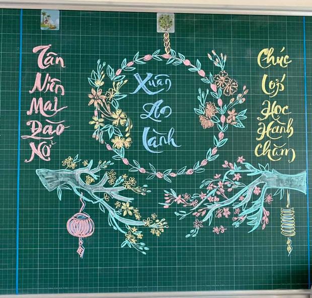 Giáo viên vẽ bảng phấn cho vui ai ngờ tạo nên cực phẩm, nhìn đến nét chữ còn sướng mắt hơn - Ảnh 7.