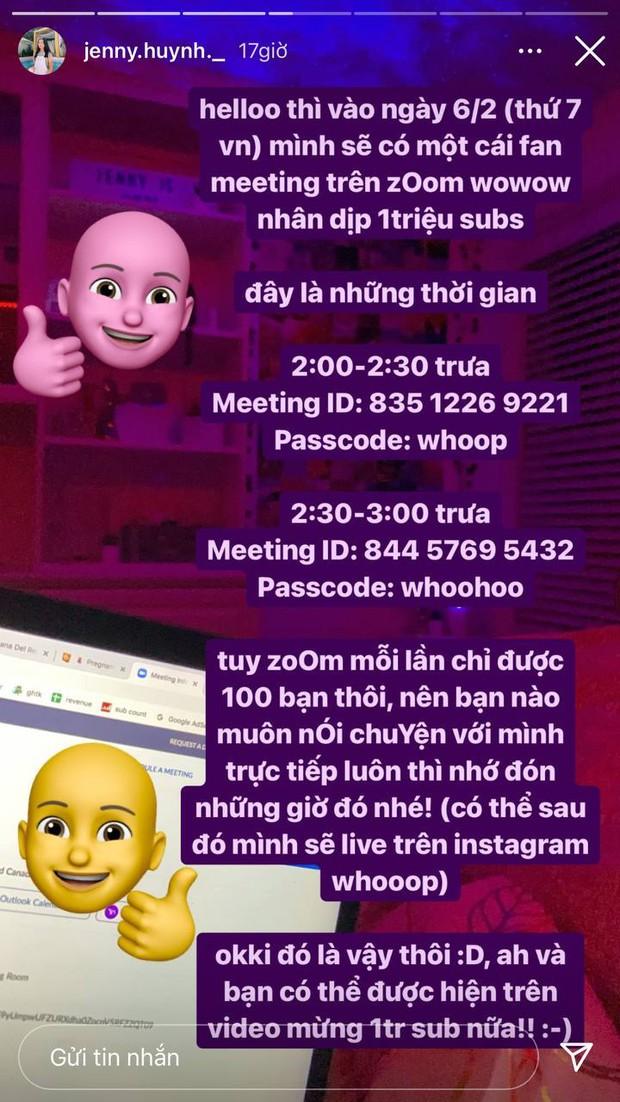 Jenny Huỳnh mở fan meeting online mừng 1 triệu sub, tầm này vui thì vui nhưng an toàn vẫn trên hết - Ảnh 1.