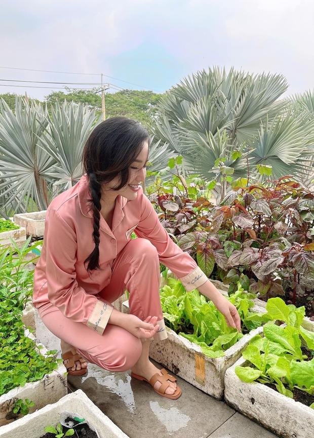 Cách Bảo Thy chill bên trong biệt thự hào môn: Chán du lịch chanh sả thì về trồng rau, diện dép lê gần 16 triệu thăm vườn - Ảnh 4.