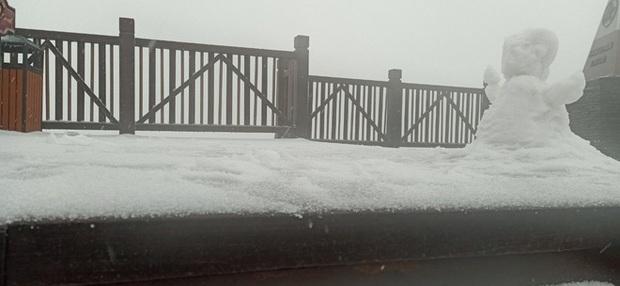 Tuyết bất ngờ rơi phủ trắng đỉnh Fansipan ngày cuối năm - Ảnh 1.
