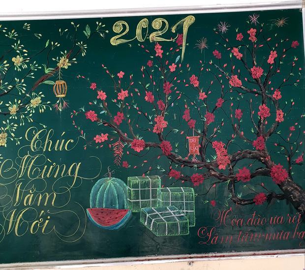 Chỉ sau 3 tiếng đồng hồ, cô giáo hô biến bảng xanh phấn trắng thành bức hoạ chúc mừng năm mới tuyệt đẹp - Ảnh 4.