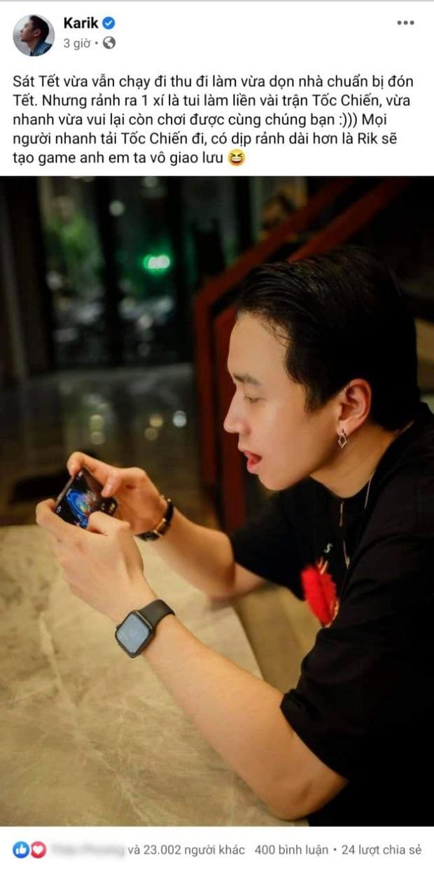 Nghiện game như rapper Karik, Tết cận kề vẫn quyết tâm gạ kèo Tốc Chiến cực căng - Ảnh 1.