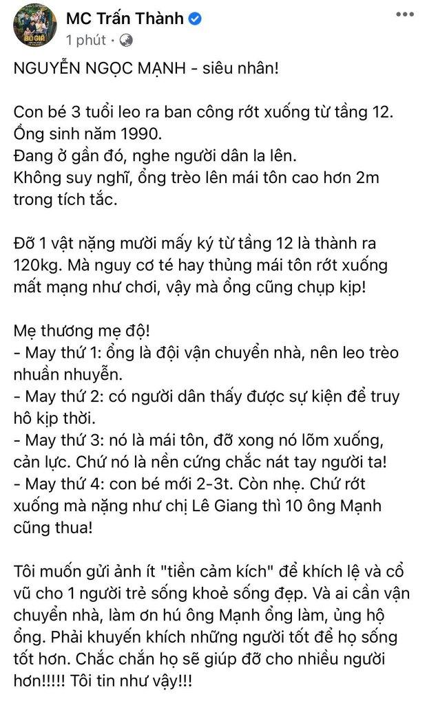 """Trấn Thành - Hoà Minzy và dàn sao Việt dậy sóng trước vụ """"người hùng"""" cứu bé gái rơi từ tầng 12, Tuấn Hưng nhân đây dặn dò luôn bà xã - Ảnh 4."""