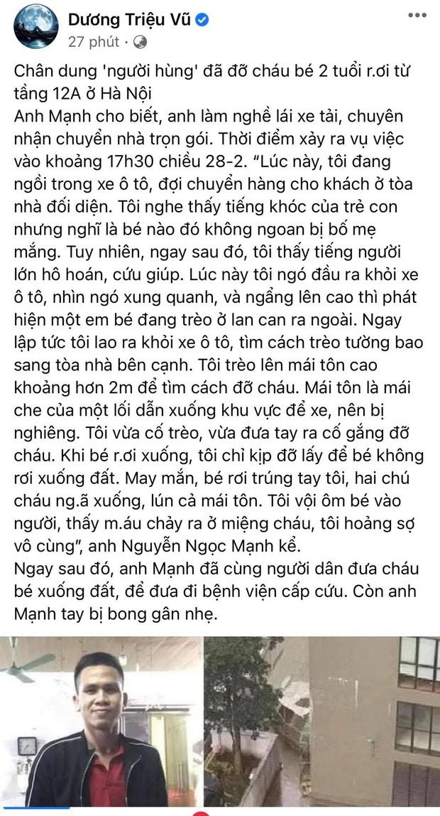 """Hoà Minzy và dàn sao Việt dậy sóng trước vụ """"người hùng"""" cứu bé gái rơi từ tầng 12, Tuấn Hưng nhân đây dặn dò luôn bà xã - Ảnh 9."""