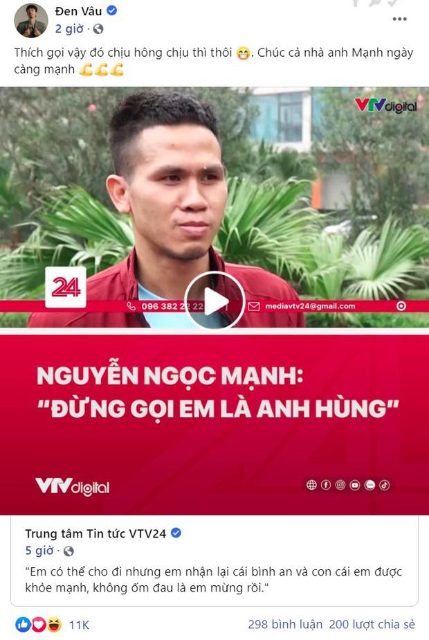 Nguyễn Ngọc Mạnh từ chối làm anh hùng, Đen Vâu nói 1 câu thôi mà viral khắp MXH vì quá lầy - Ảnh 2.