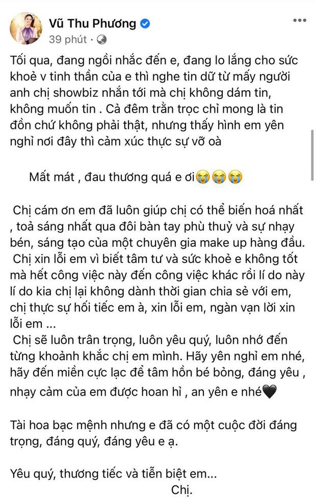 Vũ Thu Phương chia sẻ ảnh nơi tro cốt của phù thuỷ make up Minh Lộc an vị, Lệ Quyên xót xa không nói nên lời - Ảnh 3.