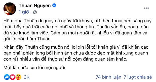 Thuận Nguyễn chính thức lên tiếng sau 1 ngày gây sốc vì lộ ảnh gầy trơ xương sườn, giải thích chuyện bỗng dưng biến mất - Ảnh 2.