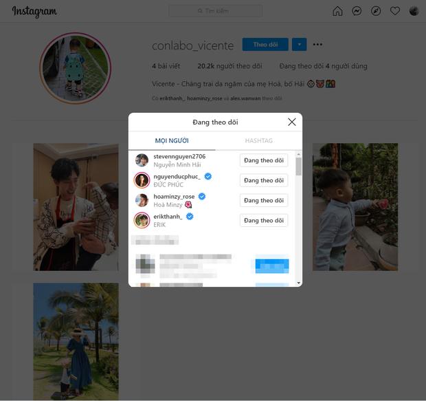 Instagram con trai Hoà Minzy chỉ follow 4 người, có cả Erik và Đức Phúc nhưng nhân vật đặc biệt này thì lại bị quên lãng - Ảnh 3.