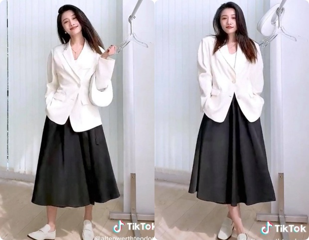8 set đồ với blazer mà nàng nào cũng có thể ứng dụng từ hotgirl TikTok xứ Trung - Ảnh 3.