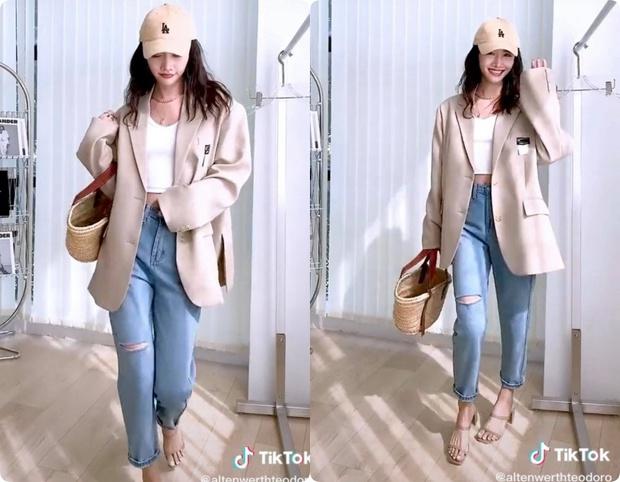 8 set đồ với blazer mà nàng nào cũng có thể ứng dụng từ hotgirl TikTok xứ Trung - Ảnh 4.