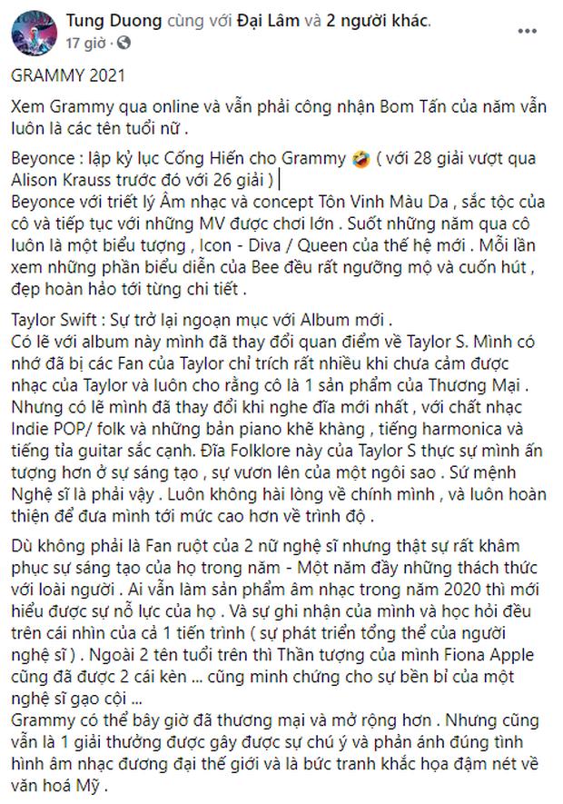 Tùng Dương quay xe: 3 năm trước chê bai không thể nghe nổi 1 bài của Taylor Swift, giờ lại ca ngợi hết lời - Ảnh 2.