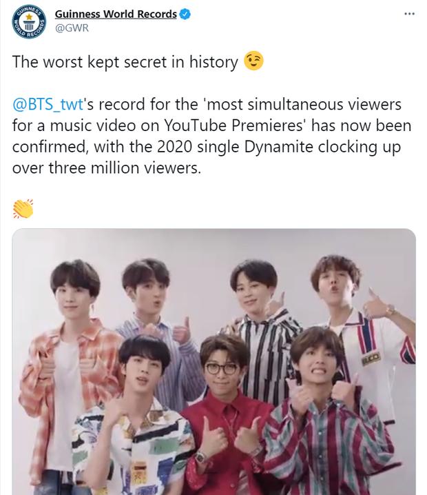 Sau nửa năm Guinness mới xác nhận kỷ lục MV có lượt xem công chiếu cao nhất thế giới của BTS, hóa ra không phải Life Goes On! - Ảnh 2.