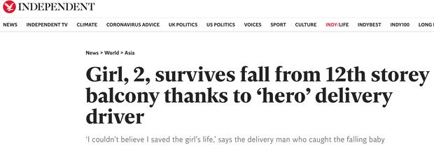 Báo Anh đồng loạt đăng bài ca ngợi anh hùng Nguyễn Ngọc Mạnh cứu em bé ngã từ tầng 12: Hành động dũng cảm trong tình huống ngàn cân treo sợi tóc - Ảnh 1.
