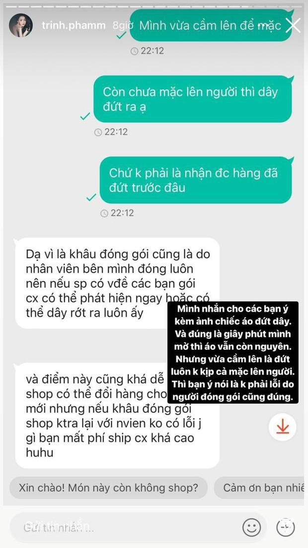Trinh Phạm dính đạn khi mua hàng online: 200k cho chiếc áo 2 dây, vừa cầm lên đã bên đứt bên còn - Ảnh 3.