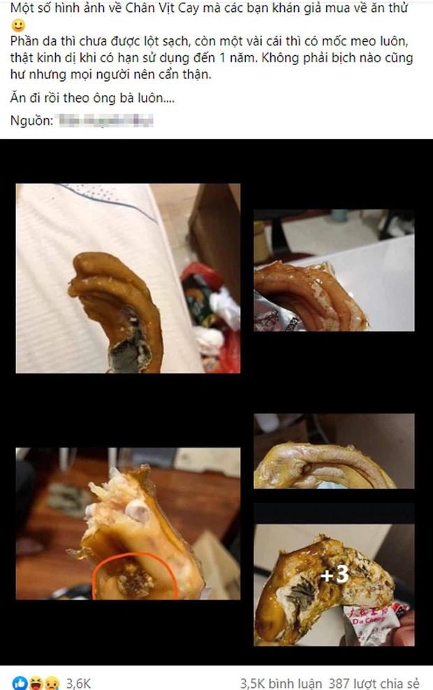 Kinh hãi hình ảnh chân vịt cay mua về ăn thử thì mốc meo: Món ăn bán trôi nổi trên thị trường, chỉ đáp ứng về nhu cầu khẩu vị, có thể gây hại sức khỏe - Ảnh 1.